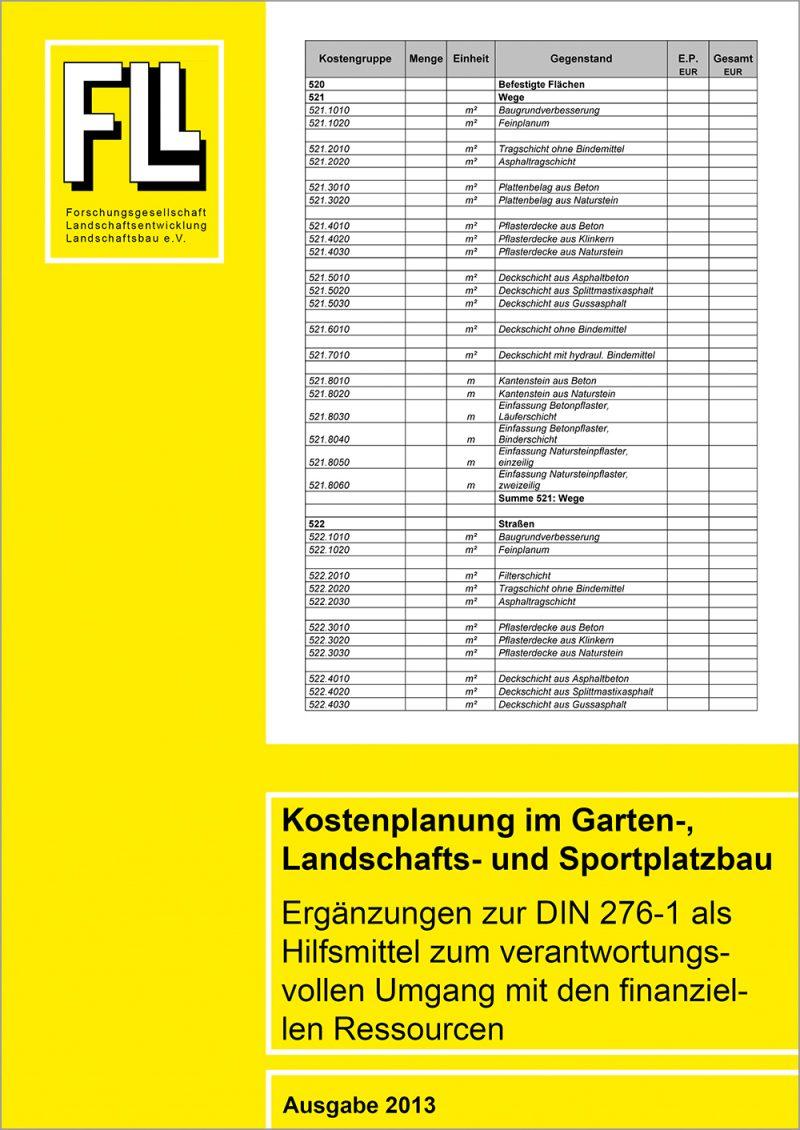 Kostenplanung im Garten-, Landschafts- und Sportplatzbau